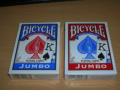Bicycle Poker Size Jumbo Index Playing Cards ( RED and BLUE )  2-decks
