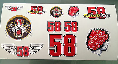 Marco Simoncelli Stickers - Decal Sticker kit (DL Size Sheet)