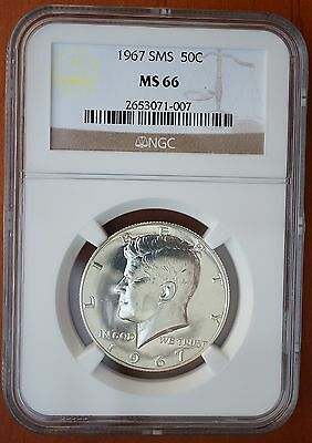 1967 US Kennedy Half Dollar Silver SMS Coin NGC MS66