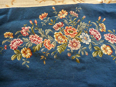 """Vintage Petite Point French Louis XV Chair settee cover 22 per inch 45""""X17"""" wool"""