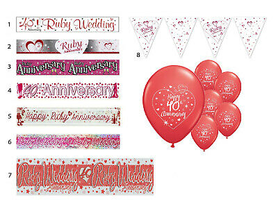 40th RUBY WEDDING ANNIVERSARY BANNERS 8 DESIGNS PARTY DECORATIONS