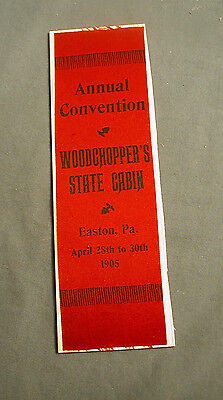 Vintage Stevengraph - Red Silk Ribbon - Wood Choppers State Cabin Easton Pa 1905