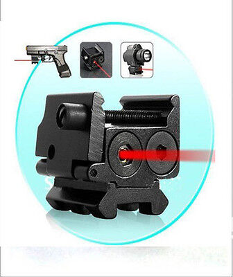 Hunting Compact 650nm Red Dot Laser Sight Dual Weaver Rail / Under Mount 20mm#29
