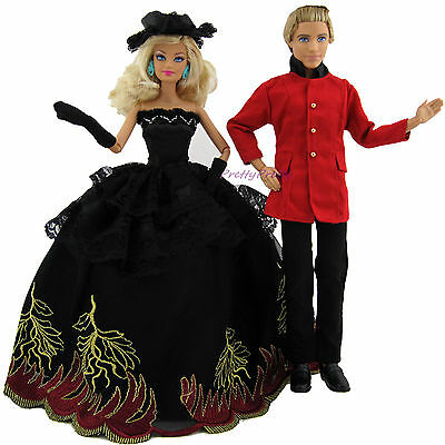 Fashion Red Suit Outfit + BLK Wedding Dress Party Clothes For Barbie & Ken Doll