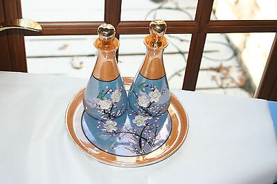 MADE IN JAPAN Blue LUSTER Oil Vinager CRUET Set on PLATE Lotus Flower Pre WWII