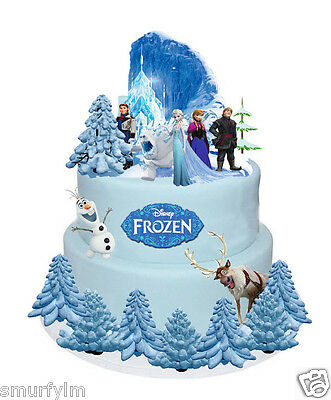 Disney Frozen Elsa Anna Olaf Stands Up Cake Toppers Wafer Card Edible 31 Pieces