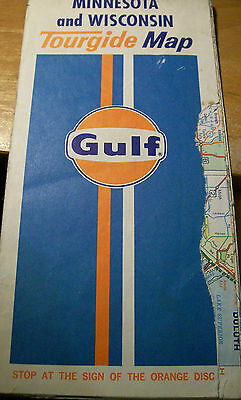 Vintage 1973 Rand McNally GULF Oil Co. Minnesota & Wisconsin Tourguide Map
