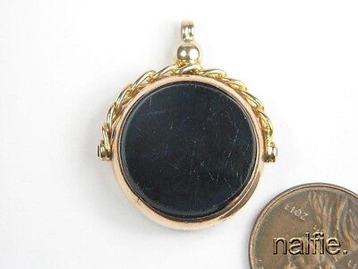 ANTIQUE ENGLISH 9 CARAT GOLD AGATE SPINNER SEAL FOB / CHARM c1922