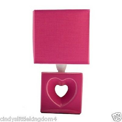 New Hot Bright Pink heart children's girls bedside table bedroom playroom lamp