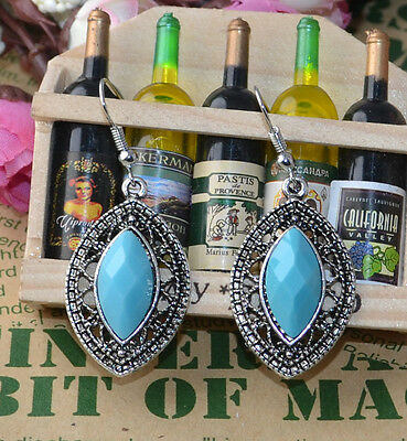 Noble Classical hot cute Turquoise tibet silver hook earrings H-1733