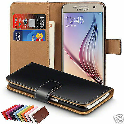 Genuine Real Leather Slim Profile Wallet Flip Case Cover For Samsung Galaxy S6