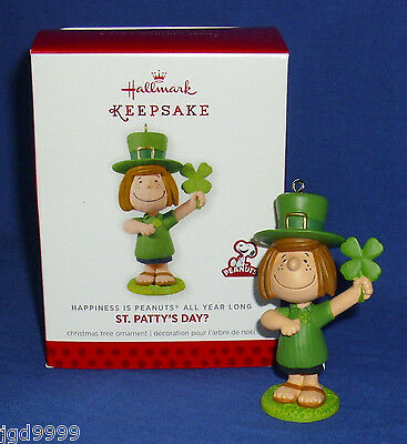 Hallmark Ornament Happiness is Peanuts #8 2014 Peppermint Patty St Patrick's Day