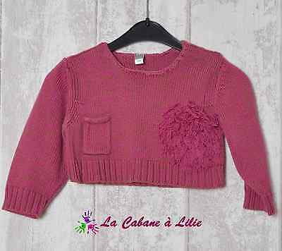♥ Pull Court Rose Vert Manche Longue LILITH MARESE 2 Ans ♥ K682