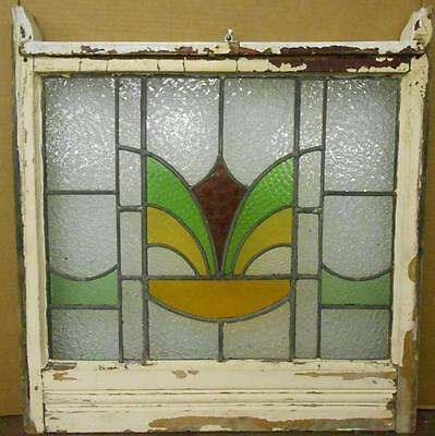 "EDWARDIAN ENGLISH LEADED STAINED GLASS SASH WINDOW Geometric Sash 26.5"" x 25.5"""