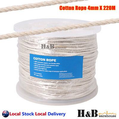 4mm x 220M Cotton Rope 100% Natural Cord 3 Strand Twisted Reel Top Quality F0015