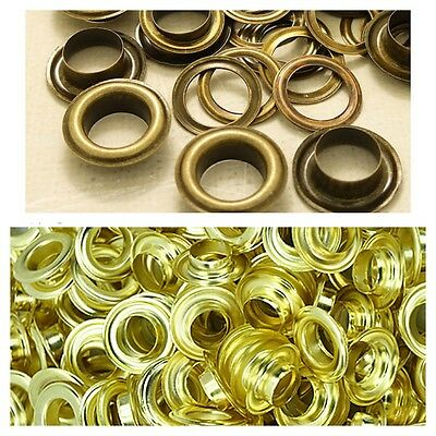 100 x 14mm Brass Eyelets Grommets with Washers for Banners Boat Rain & Rustproof