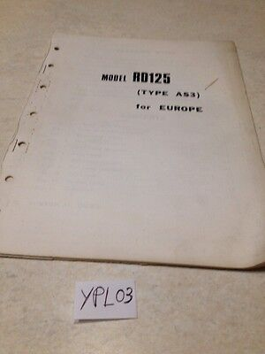 Yamaha Parts list RD125 type AS3 RD 125 additif europe , liste pièces 1973