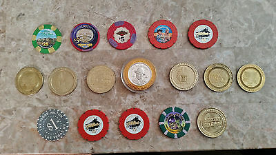 Poker chip Token Collection Limited Edition + .999 Silver LOT of 17