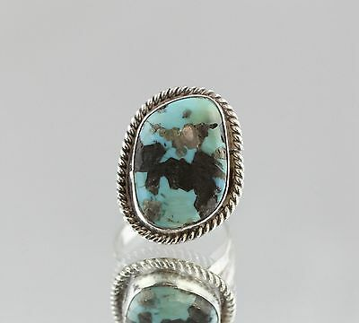 Vintage Sterling Silver Chunky Turquoise Navajo Ring