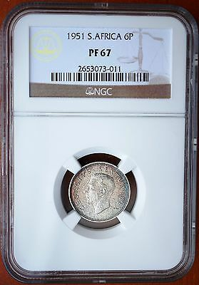 1951 South Africa 6 Pence KM# 36.2 Silver Proof Sixpence NGC Top Grade PF67