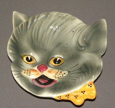 1960s Vintage Hanging Grey Cat Face Plate Shafford
