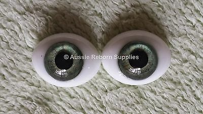 Reborn Baby Ovel Glass Eyes 18mm Meadow Green Doll Making Supplies