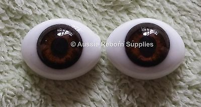 Reborn Baby Ovel Glass Eyes 18mm Brown Doll Making Supplies