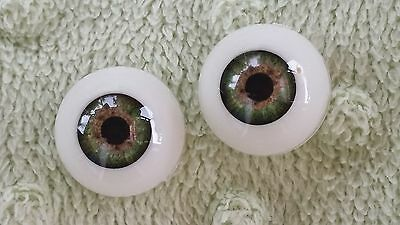 Reborn Baby Round Acrylic Eyes 18mm Meadow Green Doll Making Supplies