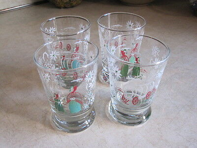 Vintage Covered Wagon Juice Glasses w/flower and Pilgrims Aqua, Red, White (4)
