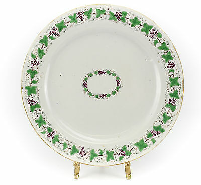 Chinese Export Porcelain Plate, 19th Century Hand Painted Gilt Grape Leaf Design