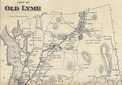 Old Lyme Rogers Lake Laysville  CT 1868 Map with Homeowners Names Shown