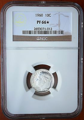 1960 US Roosevelt Silver Dime Proof Coin NGC PF66*