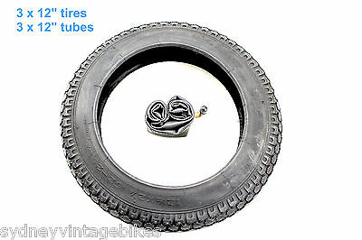 "3 x PRAM Tires & Tubes - 12-1/2"" x 2-1/4"" INCH KNOBBY JOGGER STROLLER TYRES SYD"