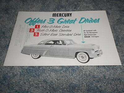 Vintage 1952 Mercury 3 Great Drives Brochure Transmission Merc-O-Matic Touch