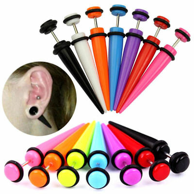 2PC UV Acrylic Fake Cheater Taper Ear Plugs Earrings Illusion Stretcher Tunnel