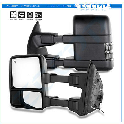 For 99-02 Ford F250 Super Duty Side Mirror Power Heated Towing Mirrors Pair Set