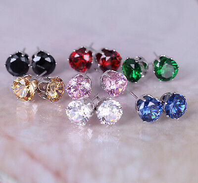 Man Lady 8 MM Rhinestone Simulated Diamond Earrings Ear Studs 6 Color Available