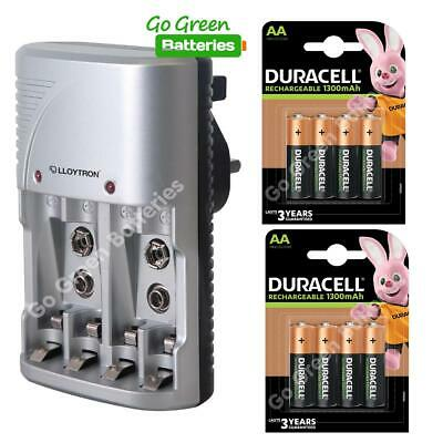 Lloytron Mains Battery Charger + 8 x Duracell AA 1300 mAh Rechargeable Batteries