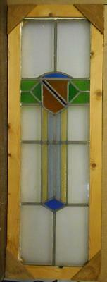 """LARGE OLD ENGLISH LEADED STAINED GLASS WINDOW Nice Colorful Abstract 10.5"""" x 36"""""""