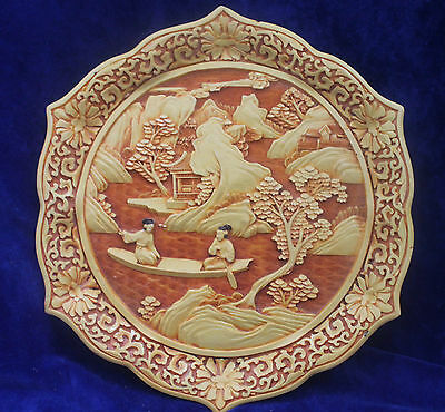Japanese Carved Resin Plate c.1950