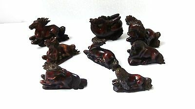 Set Of 8 Vintage Chinese Brown Soapstone Carved Lucky Horses Statues