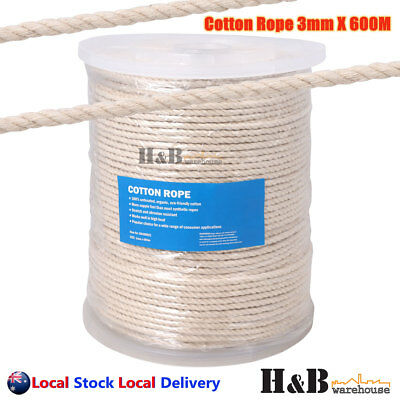 3mm x 600M Macrame Rope 100% Natural Cotton Cord 3 Strand Twisted Hand Craft