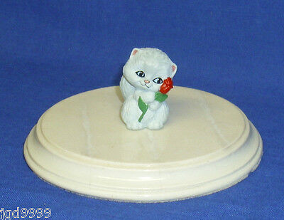 Hallmark Valentine Merry Miniature Kitten 1990 Grey Cat & Red Rose NO Gold Seal