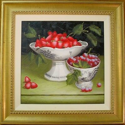 Still Life Painting DELFT BOWL WITH FRUIT Strawberries OIL ON CANVAS Naive Folk