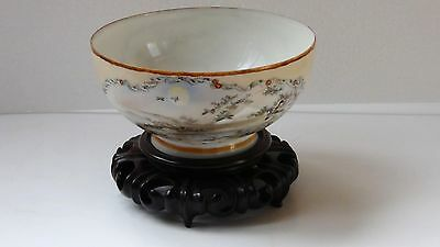 ANTIQUE JAPANESE EGGSHELL PORCELAIN BOWL HAND PAINTED CRANES& Mt.FUJI,WOOD STAND