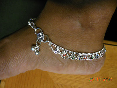 PAIR STERLING SILVER HANDMADE BELLS+beads CRYSTALS ANKLET SWAG BOLLYWOOD INDIA