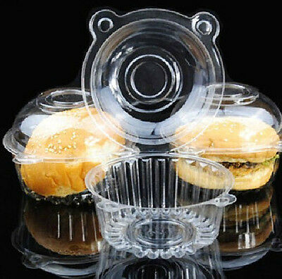 50p/set Clear Plastic Single Cupcake Muffin Case Pods Domes Cup Cake Boxes HS88