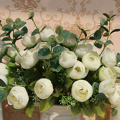 10 Heads Bouquet Artificial Fake White Flower Table Spring Rose Wedding Decor