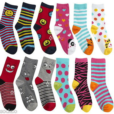 6 Pairs Boys Girls Cotton Rich Designer Socks Shoe Sizes 6-8, 9-12, 12-3
