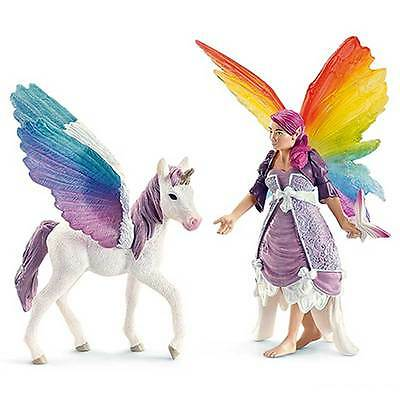 Schleich - Lis Elf and Pegasus foal Toy Figure NEW Bayala fantasy model #70484